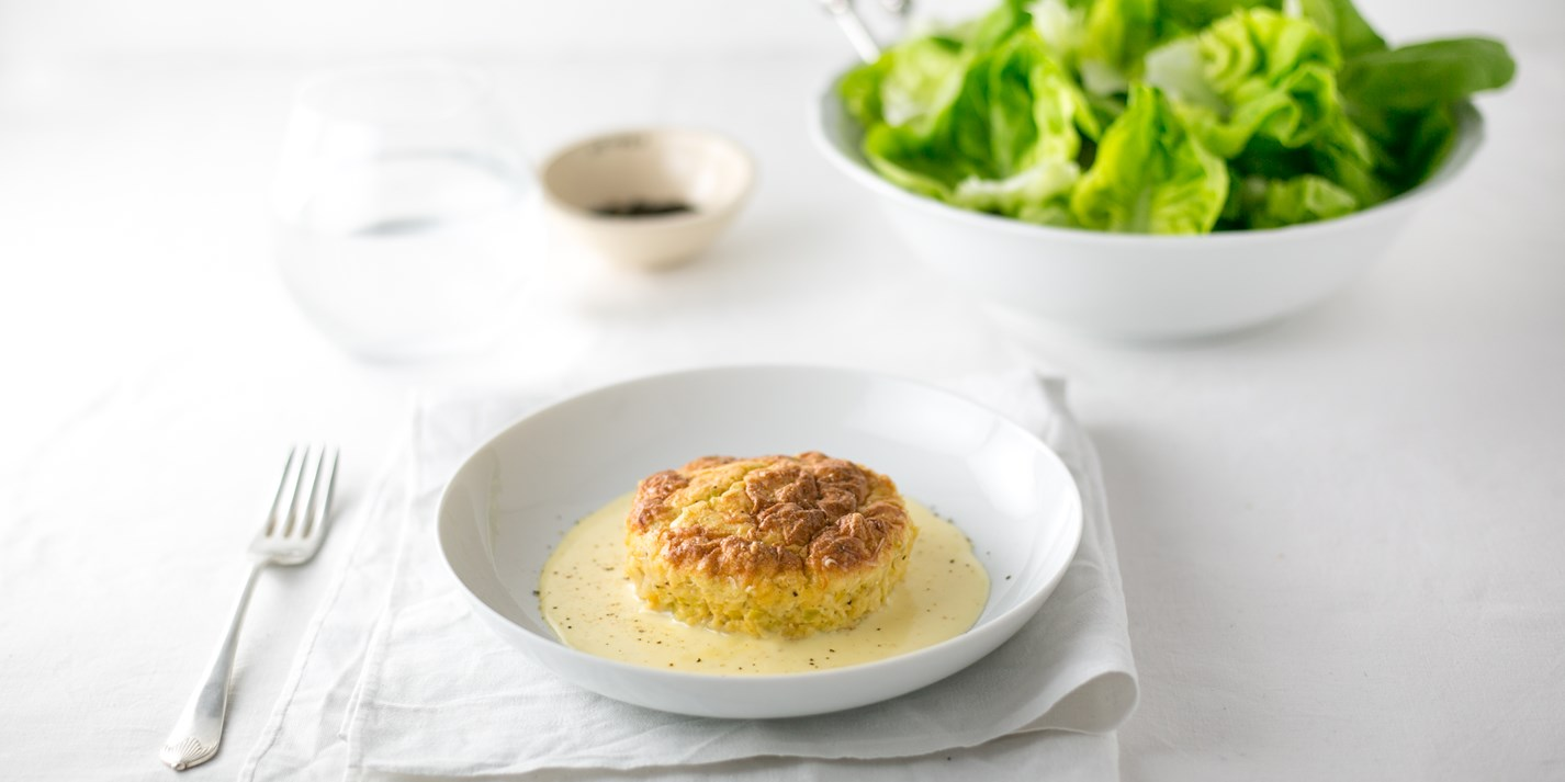Twice-baked leek soufflé with L'Etivaz cheese sauce and green salad