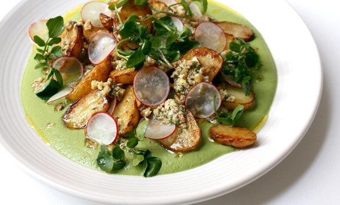 Watercress sauce, marmite roasted new potatoes, tarragon and almond dressing