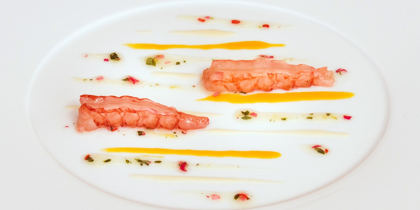 Red prawns with lemon water and pineapple sage flowers
