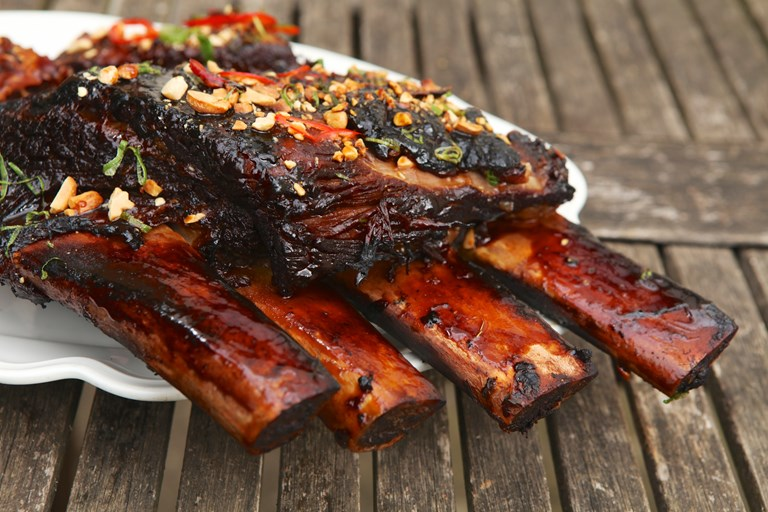 Asian-style barbecued beef short ribs