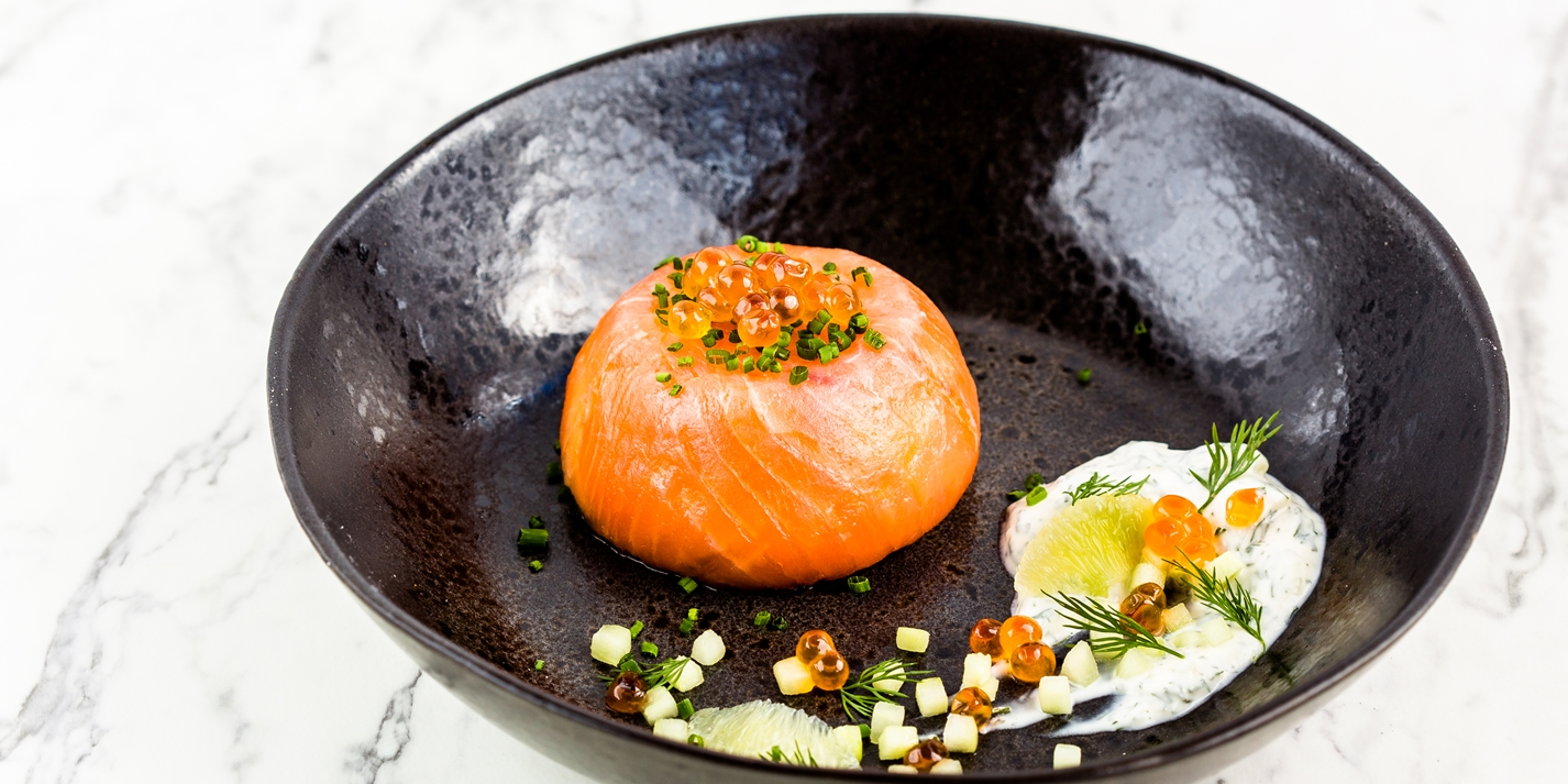 Smoked salmon mousse with crème fraîche, lime and dill