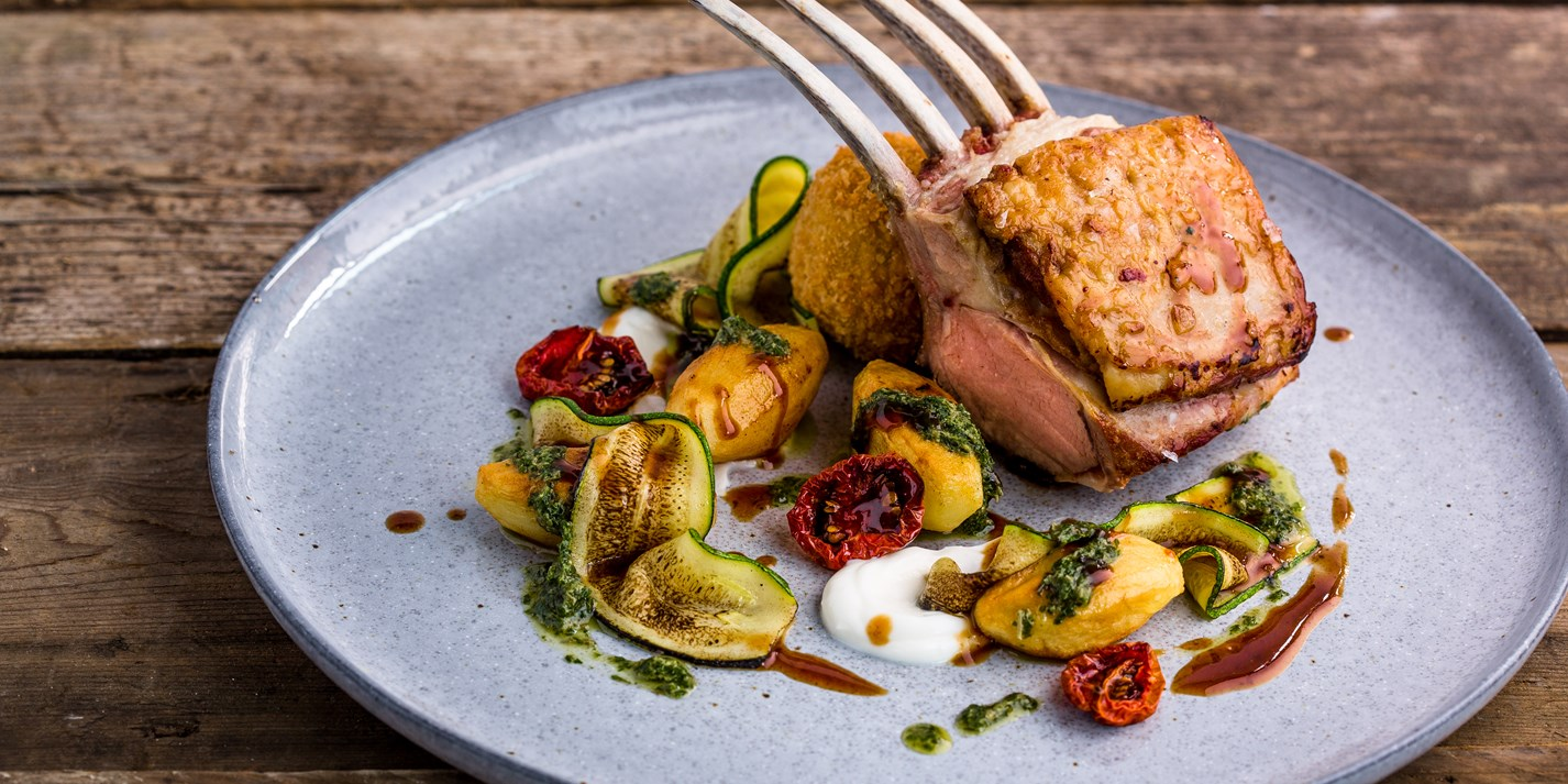Lamb rack with sheeps yoghurt, pickled courgette and mint salsa verde