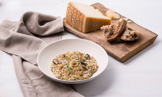 Grana Padano and pickled onion barley risotto