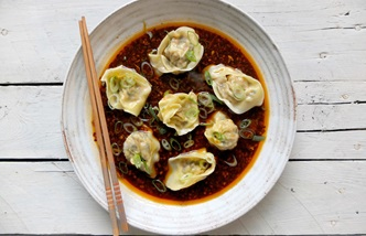 Wontons in chilli oil sauce