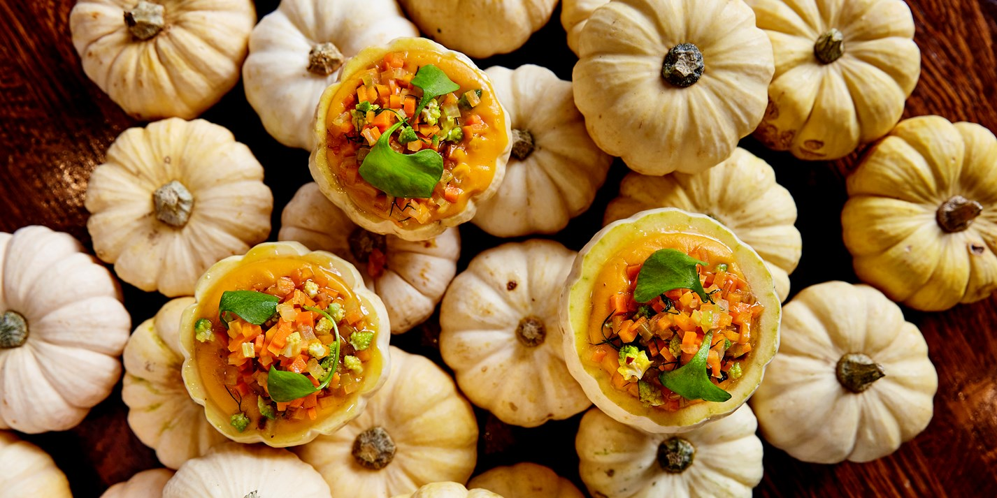 Jack-be-little squash stuffed with chilli oil and butternut squash purée