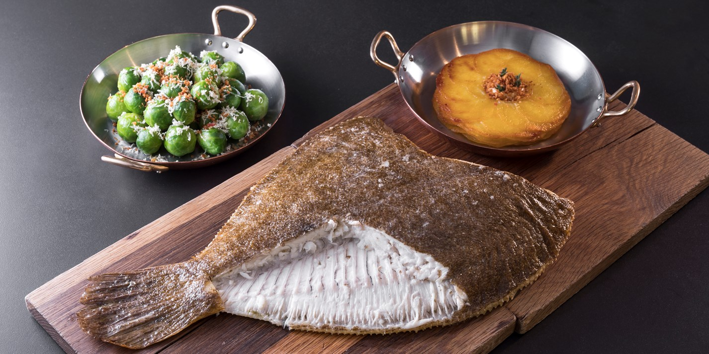 Whole roasted brill with sprouts and potato galette