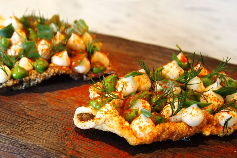 Crispy fish skin canap great british chefs for History of canape