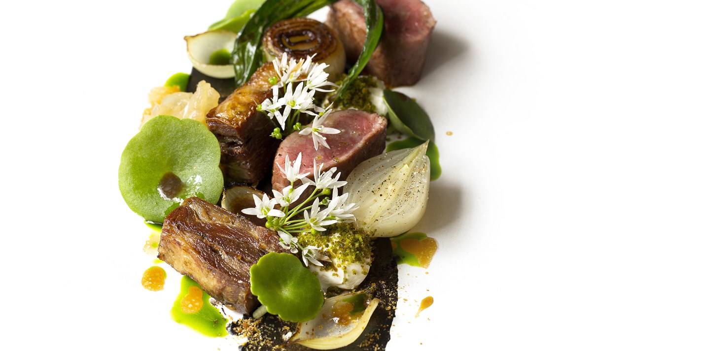Lamb, smoked aubergine, yoghurt and onions