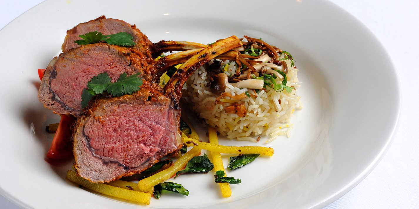 Oven roasted rack of lamb, matchstick potatoes with fenugreek leaves, wild mushroom pulao