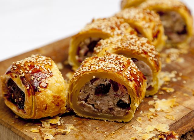 Partridge, cranberry and juniper sausage rolls