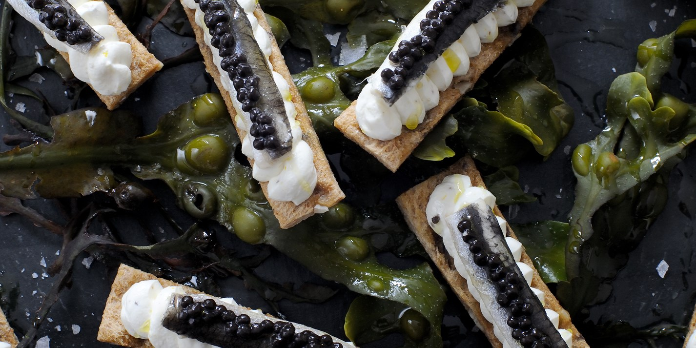 Anchovy and caviar toast