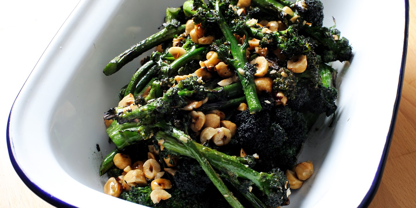 Purple sprouting broccoli with hazelnuts