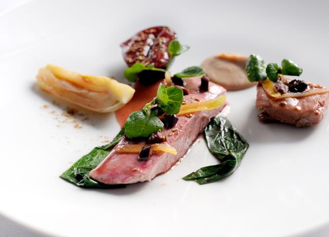 Duck breast with confit fig, fennel and five spice