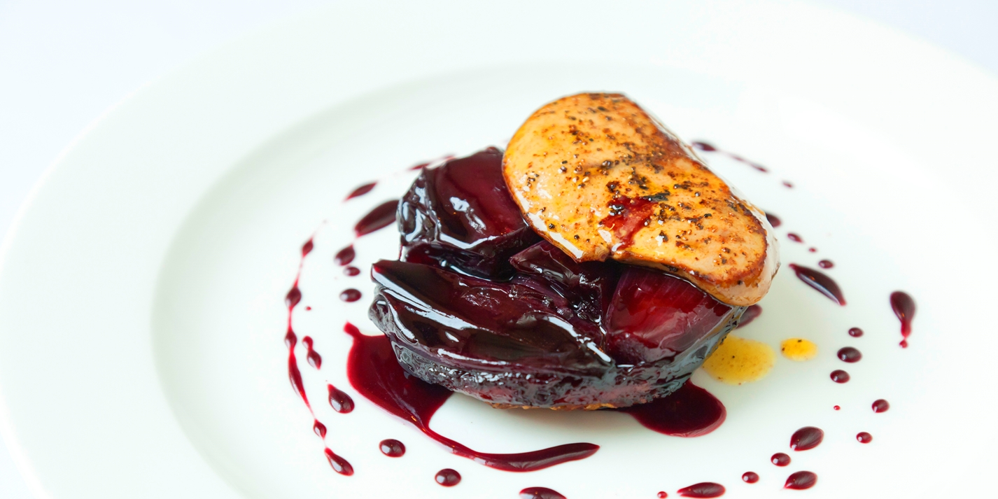 Shallot Tarte Tatins with chicken liver