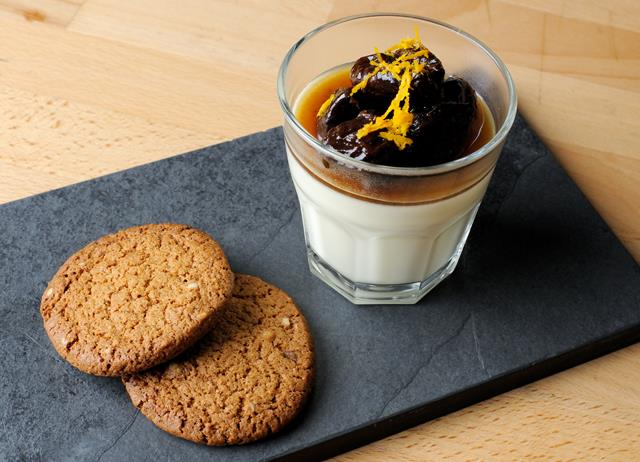 Lemon posset with ginger snap biscuits and Earl Grey soaked prunes with brandy
