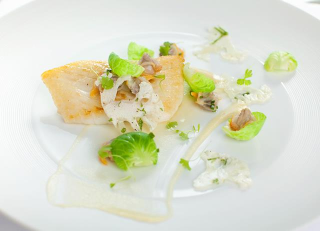 Roast turbot with cauliflower carpaccio, sauté of sprout leafs, cockles, bay leaves and bread sauce