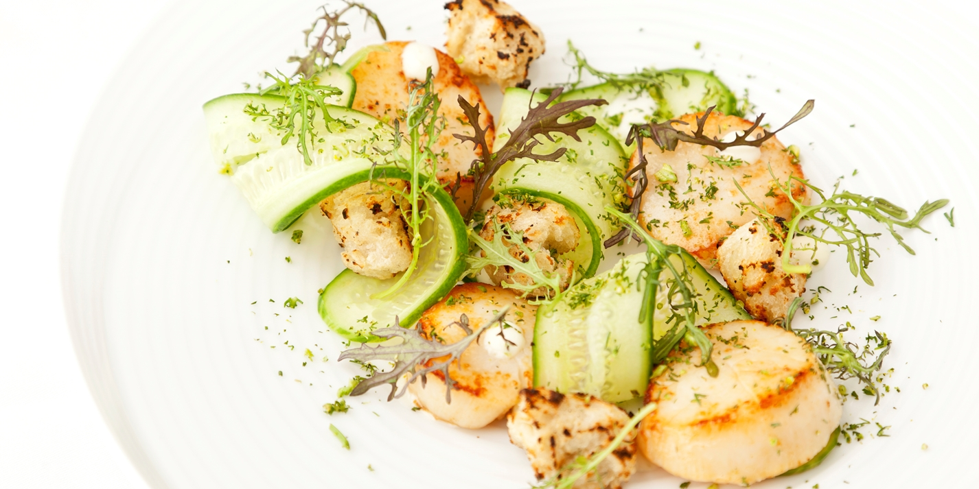 Scallops with cucumber, lime and baby leaf