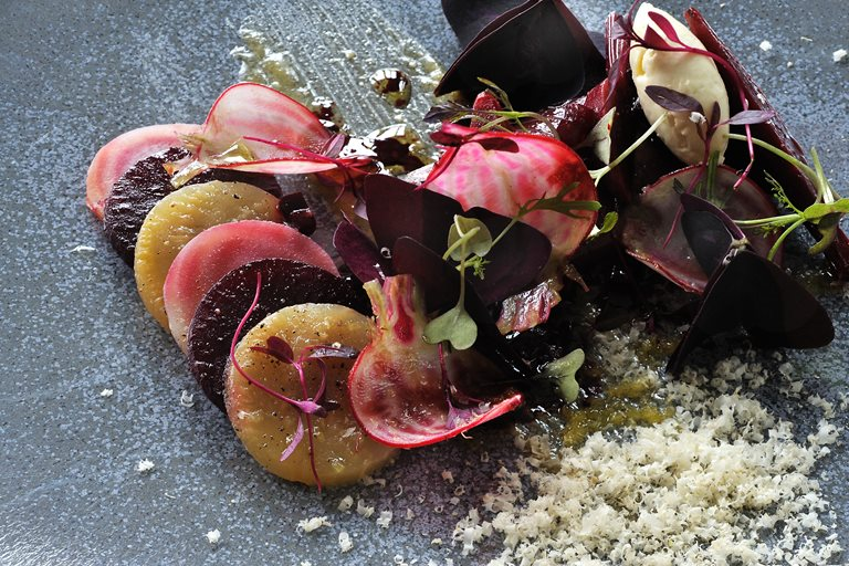 Marinated mackerel with beetroot, hazelnuts and horseradish