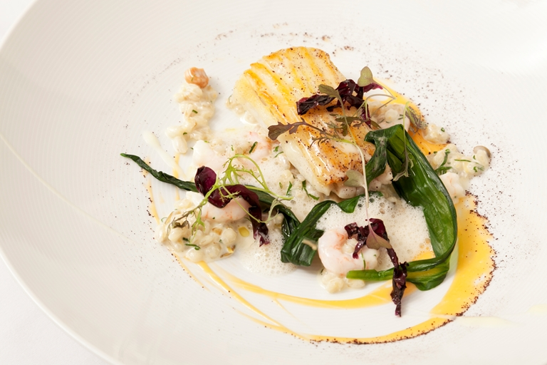 Skate with barley risotto, prawns and Sauternes sauce