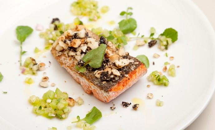 Black garlic, liquorice and macadamia crusted Alaska salmon with tomatillo salsa
