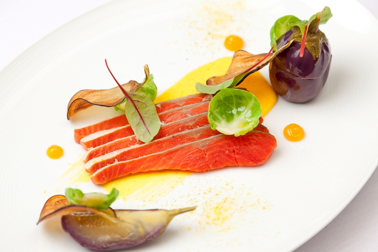 Fillet of Alaska salmon, aubergine, kumquat, Greek yoghurt