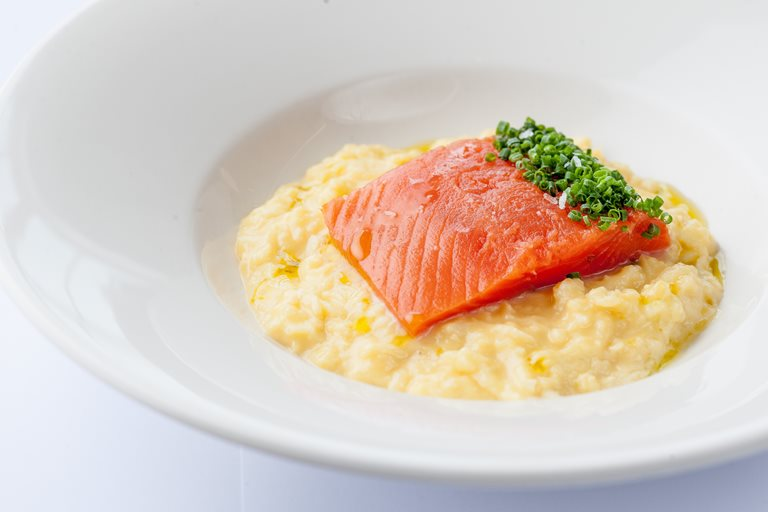 Cured Alaska salmon with scrambled duck eggs