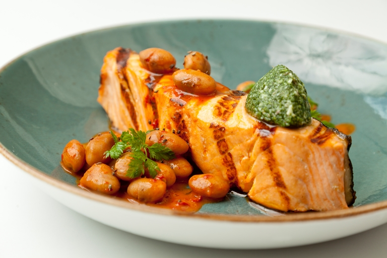 Grilled Alaska salmon with borlotti beans and 'nduja