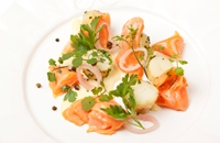 Alaska salmon, new potato and salad cream