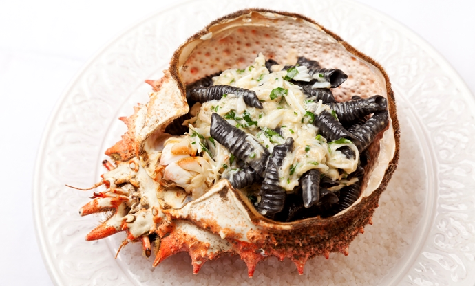 Alaska king crab with squid ink garganelle