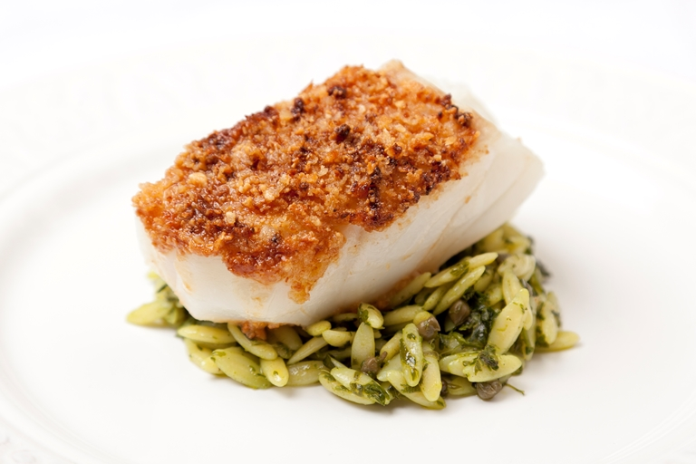 Macadamia-crusted Alaska black cod fillet with orzo and salsa verde