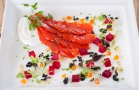 Black treacle-cured Alaska salmon
