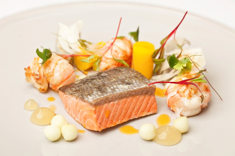 Alaska salmon, langoustine, pickled vegetables, Granny Smith