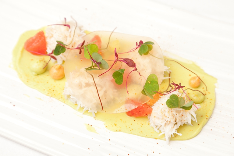 King crab, avocado, pink grapefruit, wood sorrel