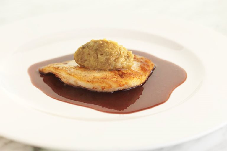 Roast turbot with five-spice aubergine caviar and a red wine sauce