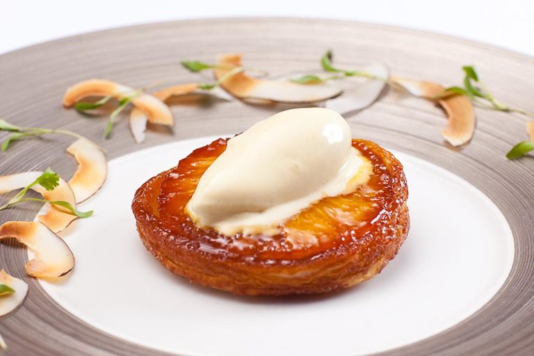 Pineapple tarte Tatin with coconut and lemongrass ice cream