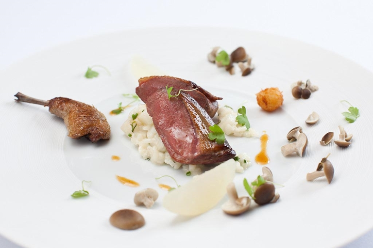 Pigeon and Roquefort risotto, Asian pear and mushrooms à la Grecque
