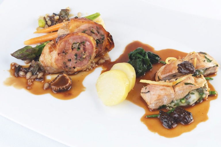 Ballotine and stuffed breast of guinea fowl with a pistou of vegetables and mixed grains