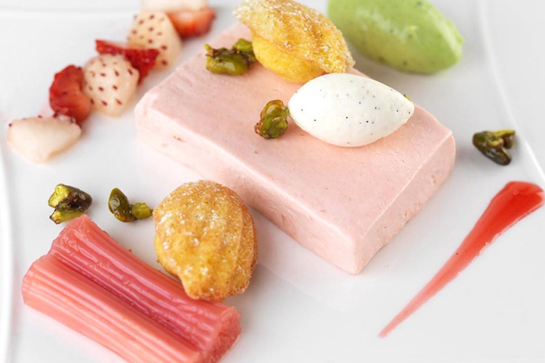 Rhubarb semifreddo and pistachio cream with a honey madeleine