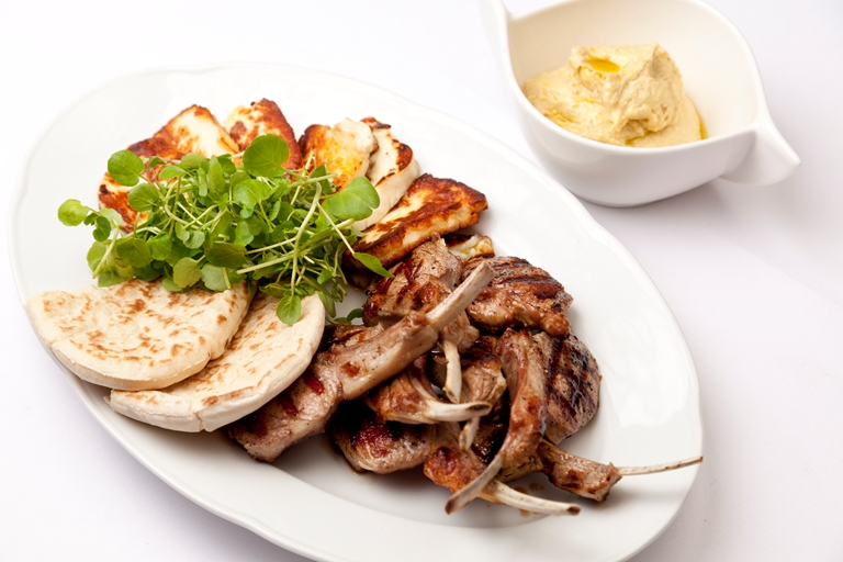 Grilled Welsh Lamb cutlets with hummus and halloumi