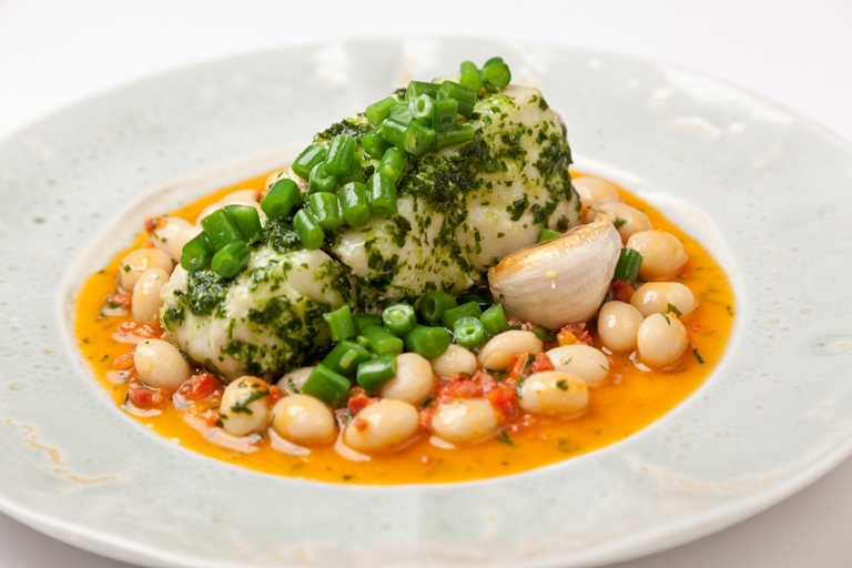 Cod with chorizo and white beans