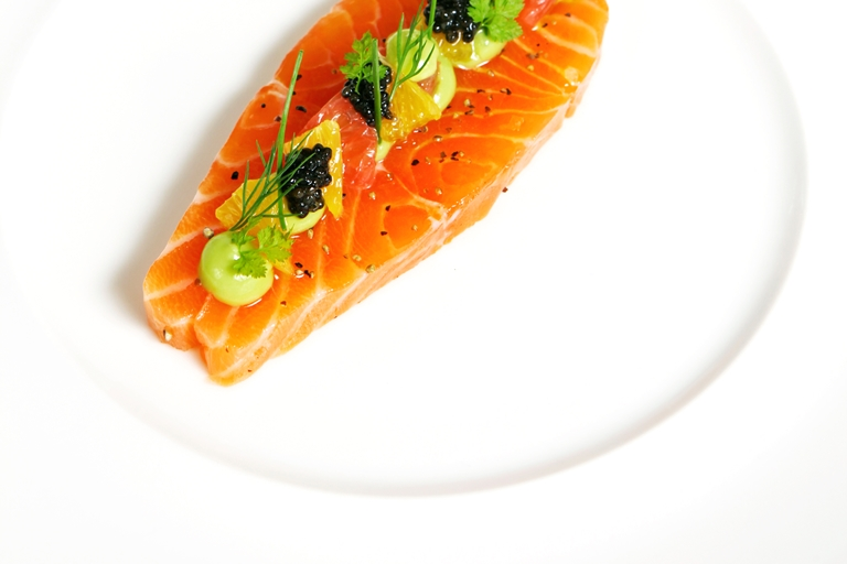 Citrus cured salmon with avocado purée and caviar