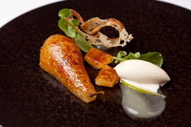 Caramelised pear with Gorgonzola ice cream