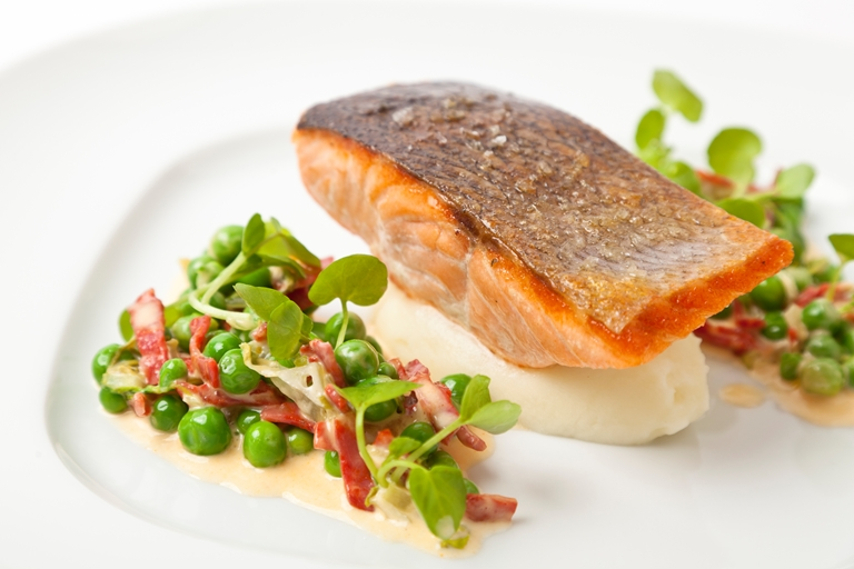 Organic salmon with English peas and chorizo