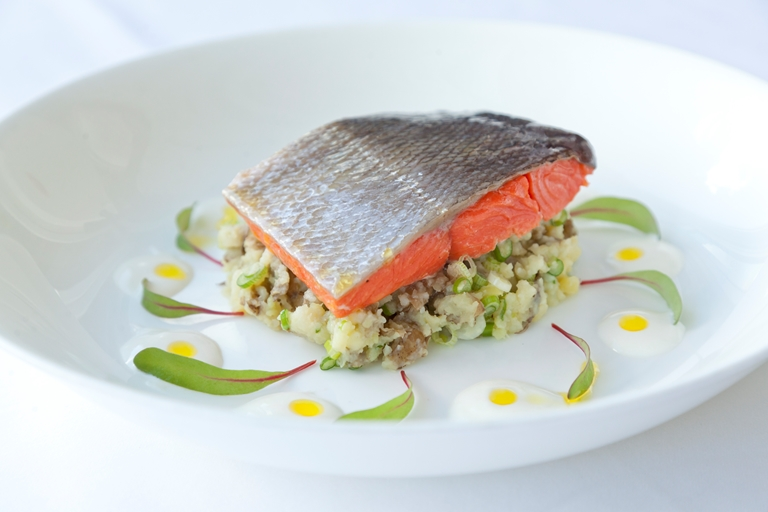 Confit Alaska salmon with crushed horseradish Jersey Royal new potatoes