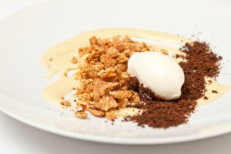 Millet porridge, oat crumble and milk ice cream