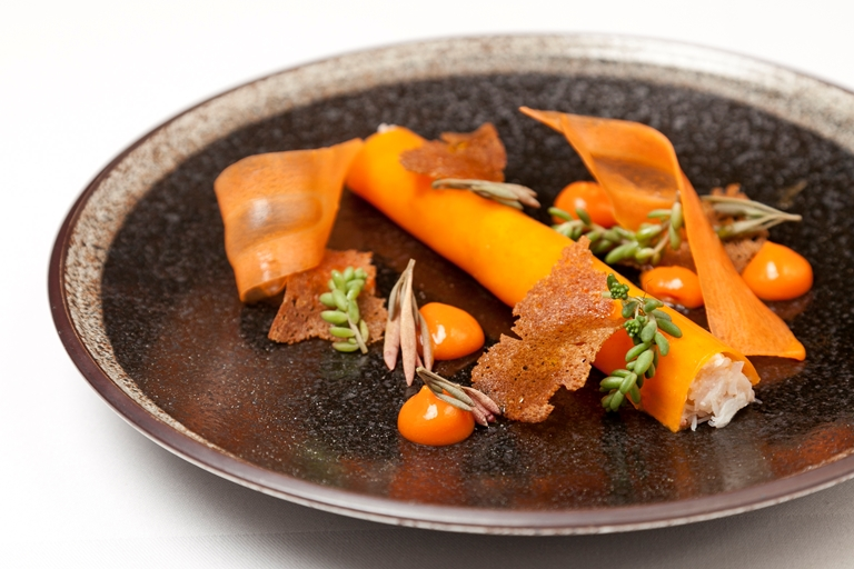 Dorset crab, sea buckthorn and carrot