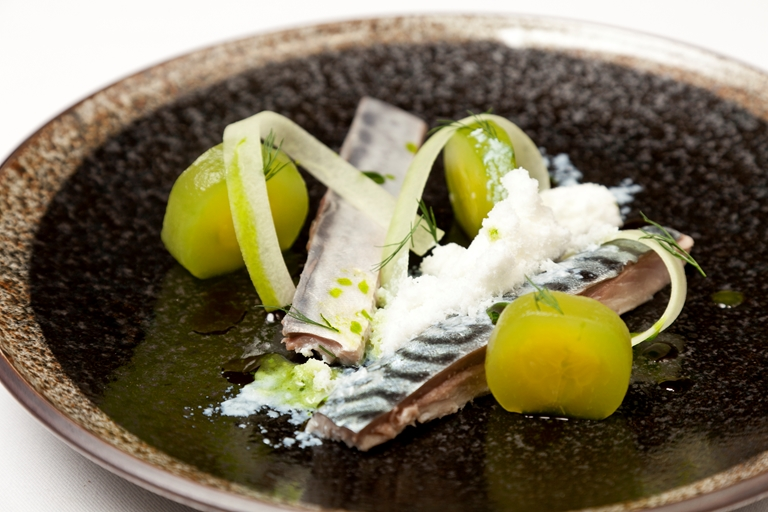 Pickled mackerel with buttermilk snow, cucumber and dill