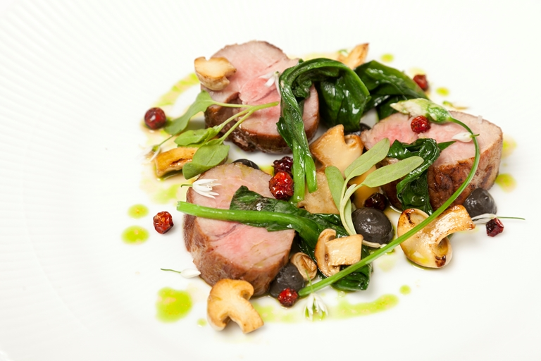 Salted pork neck, dried berries, wild mushrooms and wild garlic