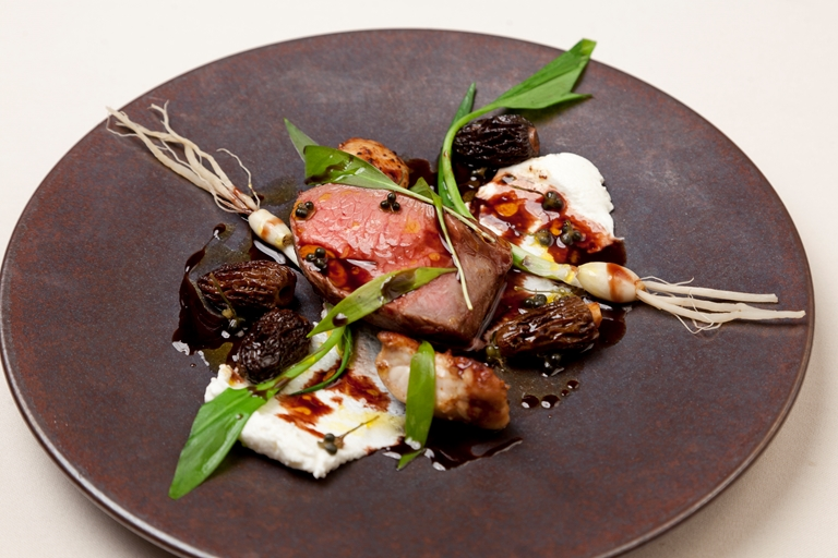 Cinderford lamb, Brock Hall farm goat's curd, wild garlic roots and shoots