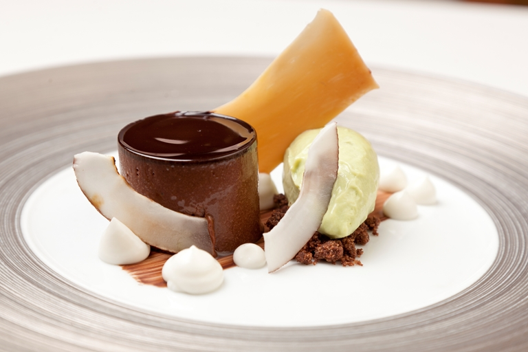 Chocolate and brown butter ganache, coconut, avocado ice cream